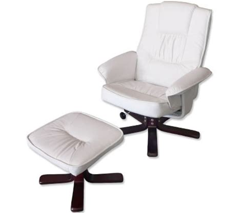 recliner chair foot stool white leather swivel