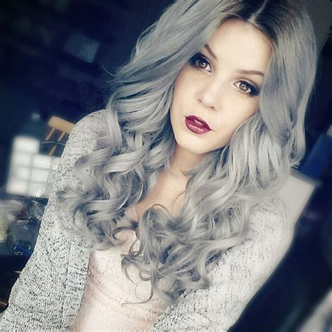 Silver Gray Hair Color with Highlights