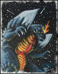 Space Godzilla painting by AlmightyRayzilla on DeviantArt