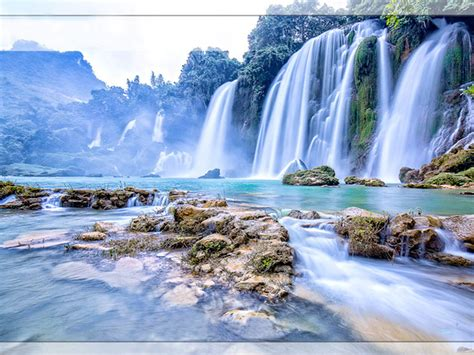 gioc waterfall vietnam desktop wallpaper hd