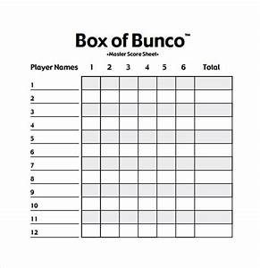 bunco score sheets template 12 download documents in With free bunco scorecard template