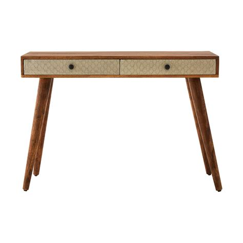 wood metal console table boho console table 2 drawer acacia wood metal astral