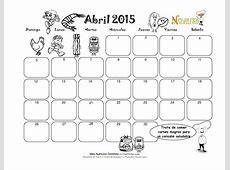 Calendarios infantiles Abril 2015 para colorear Colorear