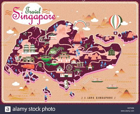 Singapore travel map with lovely attractions in flat