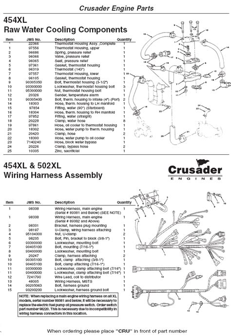 crusader engine parts xl raw water cooling