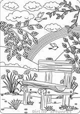Coloring Adults Bench Adult Printable Landscape Sheets Colouring Ausmalbilder Dibujos Suchbilder Kostenlos Mandala Nature Spiele Zum Farm Colorear Paisajes Ausdrucken sketch template
