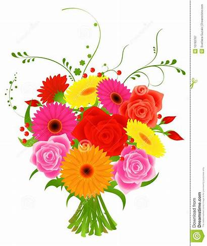 Bunch Flowers Clipart Vector Clip Clipground Illustration