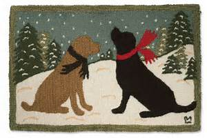 holiday dog accent rugs labs on a snowy evening rug orvis With orvis dog mat