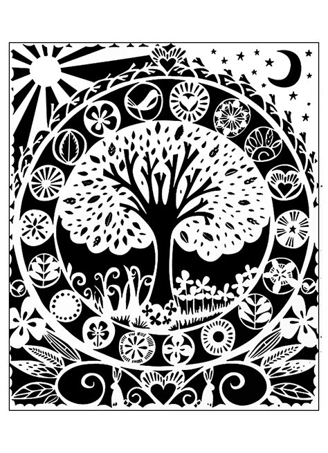 black and white to color tree white black flowers coloring pages