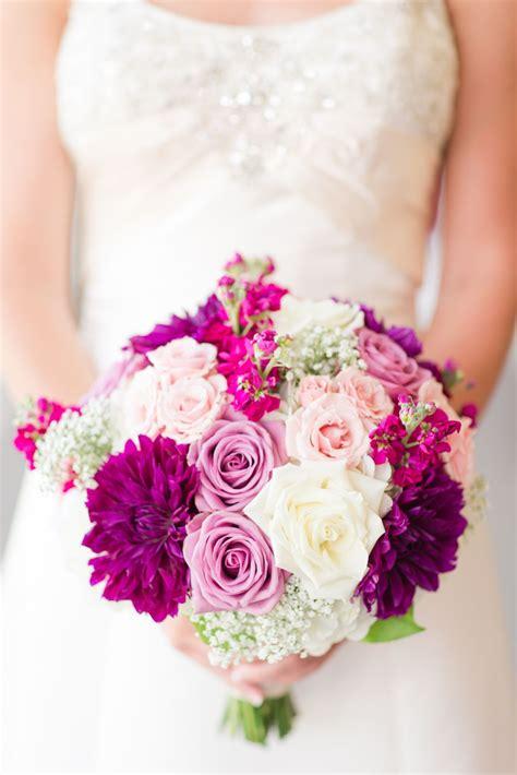 Sangria Tones Bridal Bouquet With Purples Pinks Blush