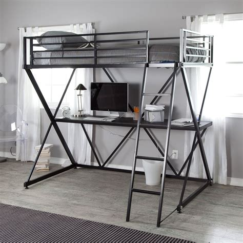 metal bunk bed with desk black new metal twin size bunk bed loft with desk and