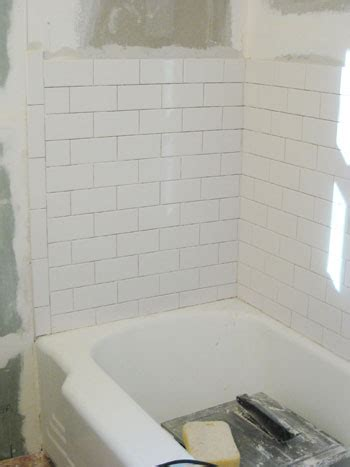 Tiling A Bathtub Area by How To Install Subway Tile In A Shower Marble Floor