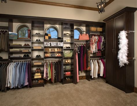 custom walk in closet organizers chocolate pear