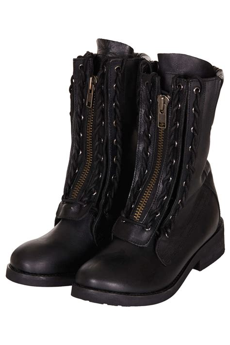 black lace up biker boots lyst topshop ask lace up biker boots in black