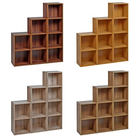 1 2 3 4 Tier Wooden Bookcase Shelving Display Storage