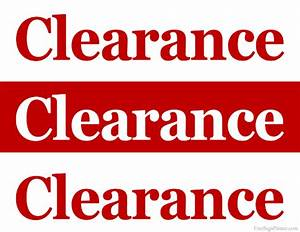 Printable Clearance Sale Sign