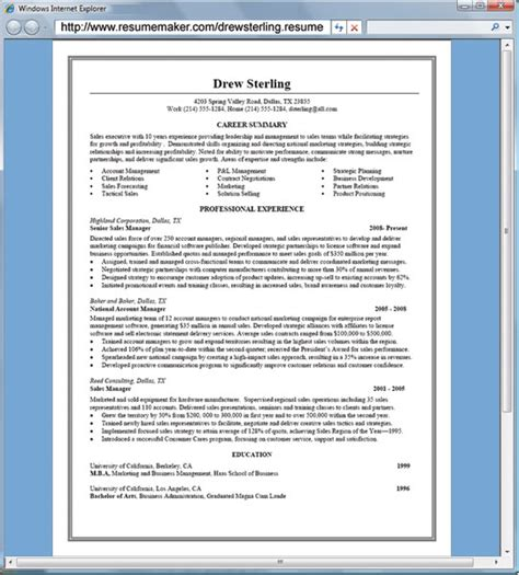 Free Resume Creator by Resume Maker Free Cv