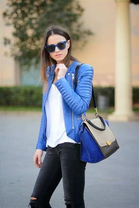 Womenu0026#39;s Blue Leather Biker Jacket White Crew-neck T-shirt Charcoal Ripped Skinny Jeans Blue ...