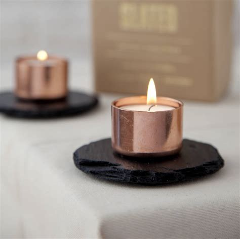 copper candle holders copper and slate candle holder by slated