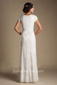 modest sheath sweetheart short sleeve lace destination With wedding dress without train