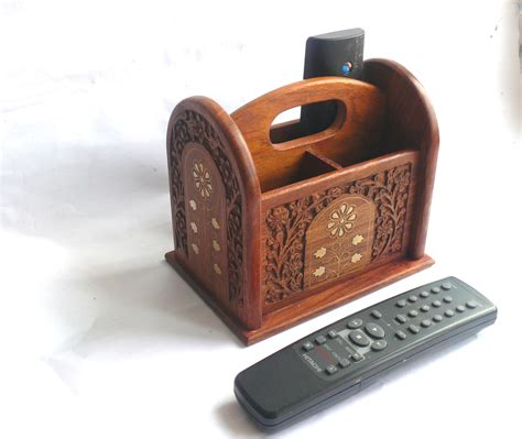 Wooden Remote Control Holder With Brass Inlaid Detail