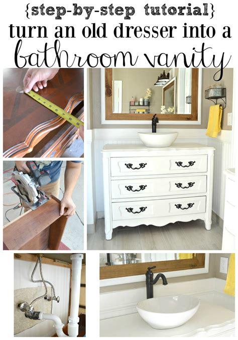 Old Dresser Turned Bathroom Vanity Tutorial Little