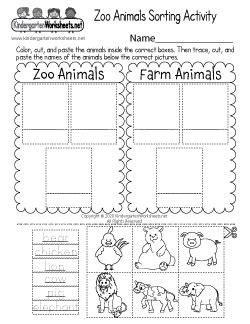 zoo worksheets  kindergarten learning  cute