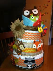 Woodland Theme Baby Shower Diaper Cake
