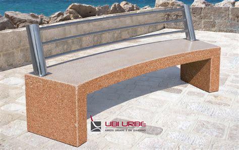 panchina cemento panchina in cemento con schienale acciaio inox arredo urbano