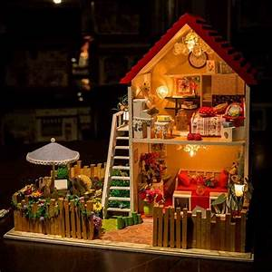 Kits Diy Wood Dollhouse Miniature W  Light And Music Large