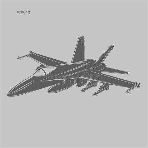 Jet Fighter Vector Illustration. Military Aircraft