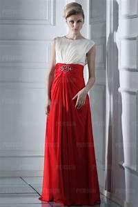 Robe Rouge Mariage Invité : robe longue col rond bicolore blanche rouge pour invit mariage ~ Farleysfitness.com Idées de Décoration