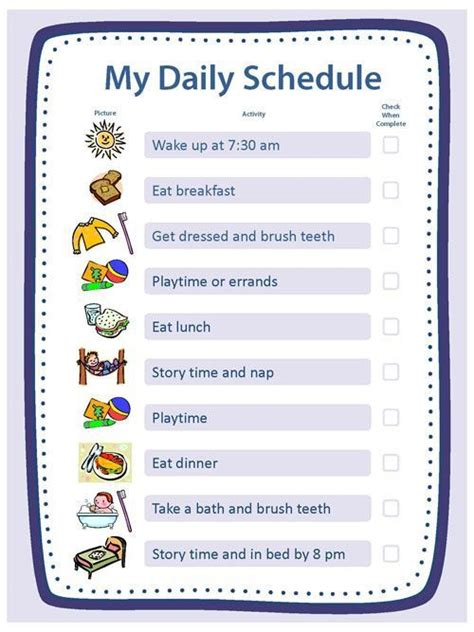 blank templates  daily schedule chore chart