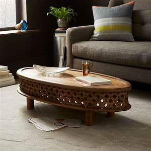 carved wood ellipse coffee table natural west elm With west elm carved coffee table