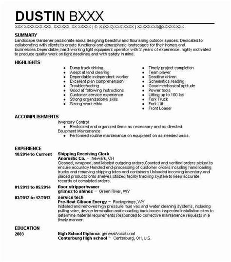 Shipping Clerk Resume by Shipping Receiving Clerk Resume Sle Clerk Resumes