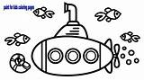 Submarine Drawing Underwater Coloring Children Draw Sea sketch template