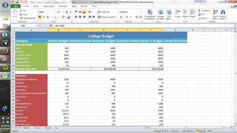 college selection spreadsheet how to create a college style budget using excel all