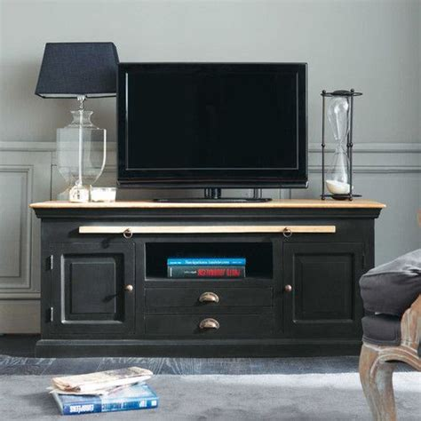 meuble tv en manguier noir l 140 cm chinon tvs