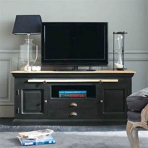 Meuble tv en manguier noir l 140 cm chinon tvs for Good meubles tv maison du monde 7 meuble