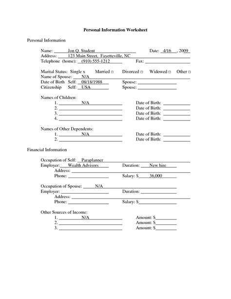 14 best images of student information worksheet student