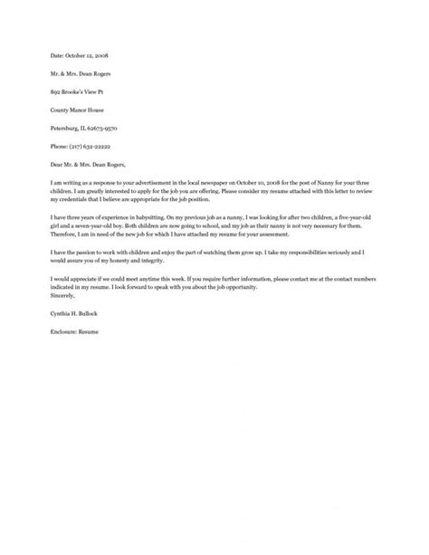 Cover Letter For Nanny by Nanny Cover Letter Exle Resume Exles Resume