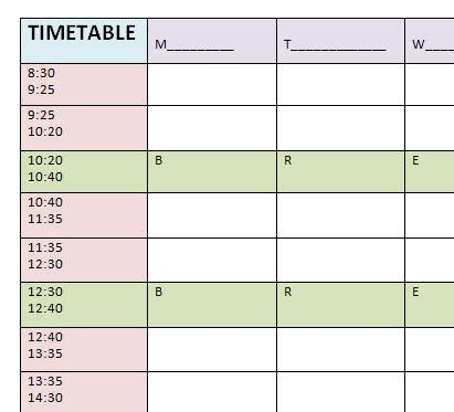 timetable numbers template blank timetable template