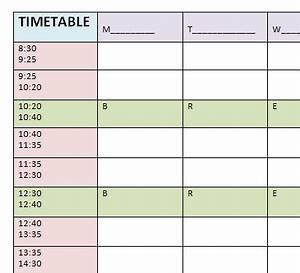 blank timetable template With timetable templates for teachers