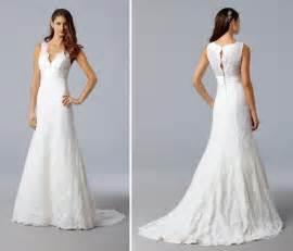 beautiful lace wedding dresses v neck white lace wedding dress with beautiful timeless lace back onewed