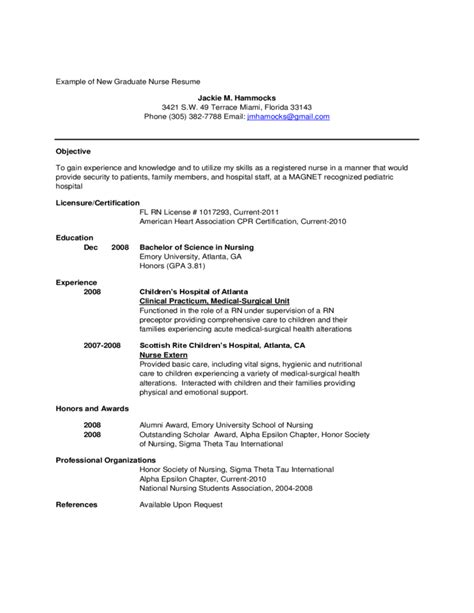 exle of new graduate resume free