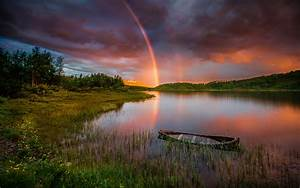 Sunset, Rainbow, After, Rain, Lake, Boat, Forest, Trees, Sky, With, Red, Clouds, Landscape, Hd, Wallpaper