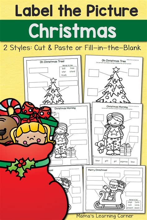 christmas label  picture worksheets mamas learning corner