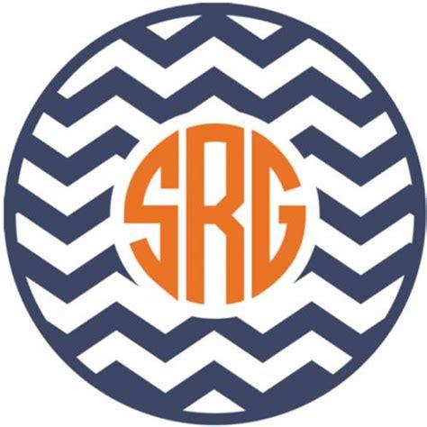 monogram chevron vinyl car decal  circle  script fo