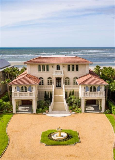 mediterranean style oceanfront home  isle  palms sc
