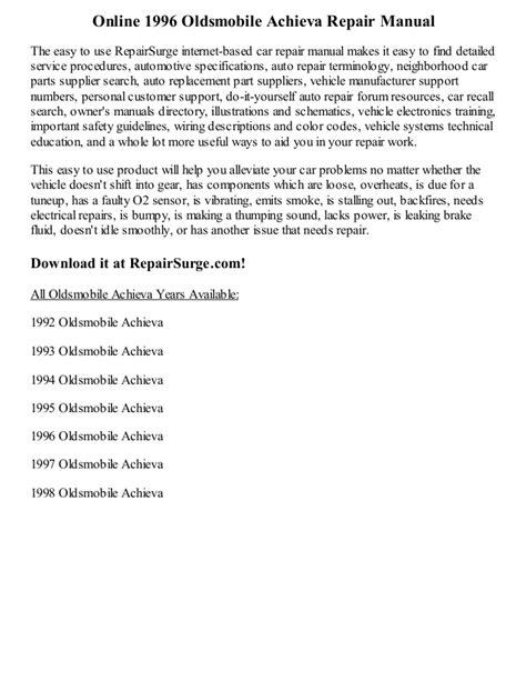 how to download repair manuals 1996 oldsmobile achieva auto manual 1996 oldsmobile achieva repair manual online
